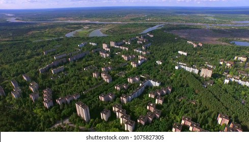 Aerial. Chernobyl Disaster Exclusion Zone The Abandoned City of Pripyat near Chernobyl, Ukraine.