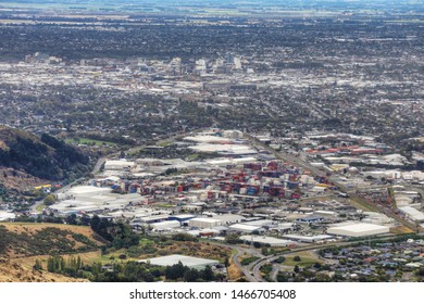 An aerial of Christchurch, New Zealand harbour