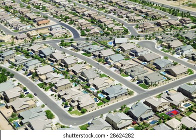 An aerial of city development
