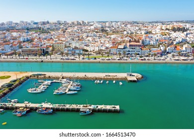 Aerial from the city Lagos in the Algarve Portugal