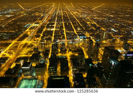 Aerial city night view