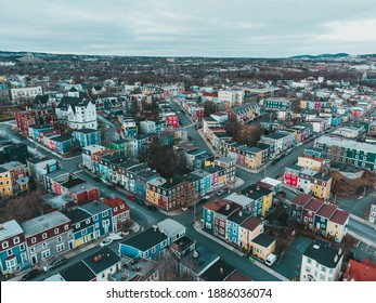 Aerial of the city of st. johns, newfoundland, canada