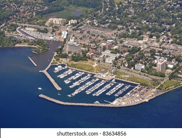 aerial city view  above the  of the Bronte marina, Oakville Ontario Canada