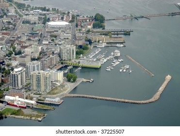 aerial city view above the shoreline  of  downtown area, Kingston Ontario Canada