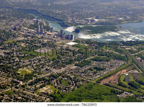 Aerial City View Across Niagara Falls Stock Image Download Now