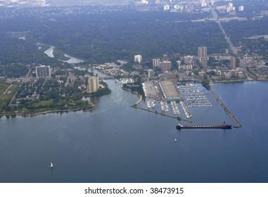 aerial city view along the shoreline above Oakville Ontario Canada