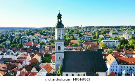 aerial city view of a church, Freising, Bavaria, Germany