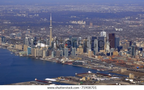 aerial city view of downtown Toronto and lake shore, Ontario Canada