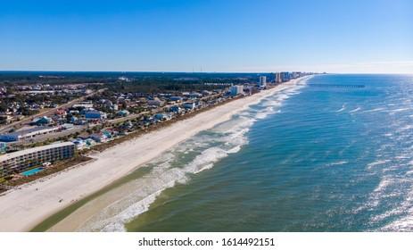 Aerial City view of the Gulf Shores, Alabama USA