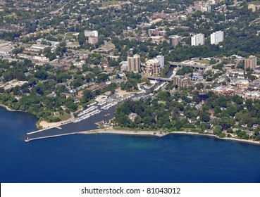 aerial city view of the harbor area in Oakville Ontario, Canada