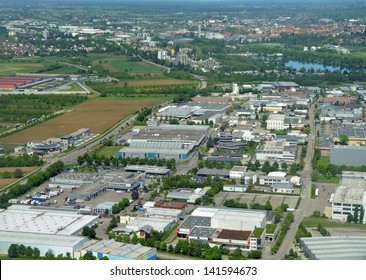 aerial city view of the industrial area in the southern part of Offenburg, located in the Ortenau region in Germany