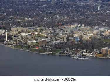 aerial city view of Kingston Ontario, Kingston College and Waterfront; Canada