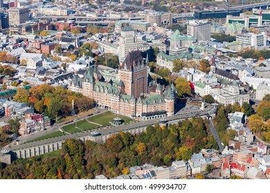 Aerial city view of the Old Quebec district and famed chateau Frontenac, a popular tourist destination in Canada.