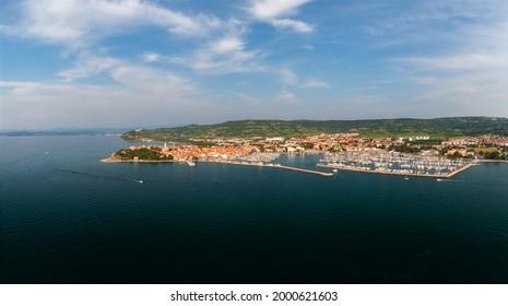 Aerial cityscape about Izola town Slovenia. Unique mediterranic cute little town in adriatic sea near by Piran city.