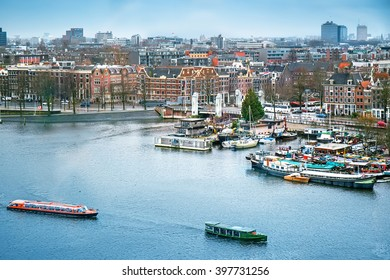 Aerial cityscape of Amsterdam, the Netherlands
