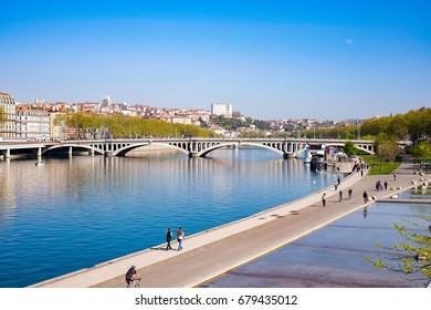 Aerial Cityscape of Lyon City and Bridge in Clear Blue Sky Day, Lyon, France.
