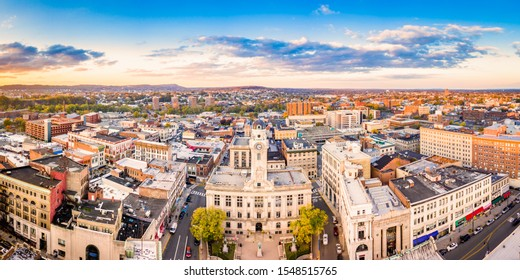 Aerial cityscape of Paterson, NJ and its City Hall. Paterson is the county seat of Passaic County and the 3rd most populous city of NJ, with the 2nd largest muslim population in US by percentage.