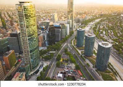 Aerial cityscape of Santiago de Chile