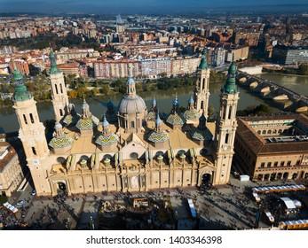 Aerial cityscape of Spanish city Zaragoza (Saragossa) with Cathedral Basilica