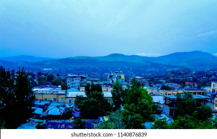 Aerial cityscape view to Gondar city in Ethiopia