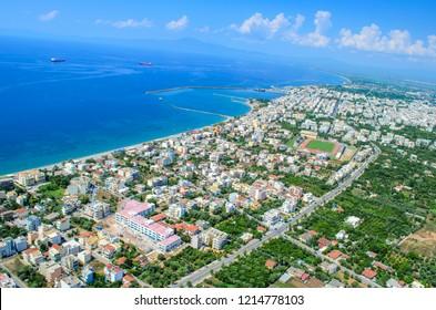 Aerial cityscape view of Kalamata city, Messenia, Greece, Europe