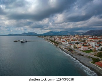 Aerial cityscape view of Neapolis town also named Vatika in Laconia, Greece. Neapoli is a famous coastal town built on the same site as the ancient Laconian city of Boeae.