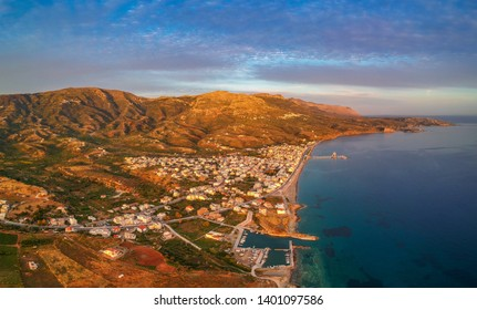 Aerial cityscape view of Neapolis town at sunset. Also named Vatika in Laconia, Greece. Neapoli is a famous coastal town built on the same site as the ancient Laconian city of Boeae