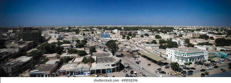 Aerial cityscape view to Nouakchott, capital of Mauritania