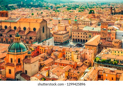 Aerial cityscape view of Piazza Maggiore square and San Petronio church in the city of Bologna, Italy.