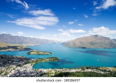 Aerial Cityscape View of Queenstown New Zealand