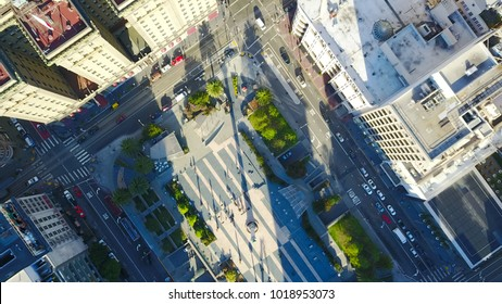 Aerial cityscape view of San Francisco.   Union square Top View