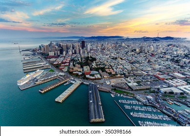 Aerial cityscape view of San Francisco, California, USA