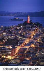Aerial cityscape view of San Francisco at Night, California, USA