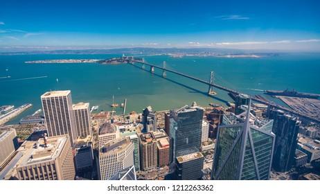Aerial cityscape view of San Francisco-Oakland Bay Bridge