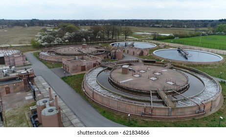 Aerial of clarifier at wastewater treatment plant doing process used to convert wastewater into an effluent that can be either returned to the water cycle with minimal environmental issues or reused