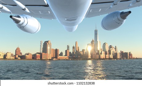 AERIAL CLOSE UP: Flying along beautiful Hudson river as big commercial plane flies towards New York. Picturesque shot of golden sun beams illuminating the towering skyscrapers in spectacular Manhattan