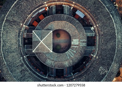 Aerial closeup view of Tulou, the unique dwellings of Hakka in Fujian, China.