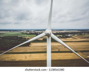 Aerial close-up of windmill turbine
