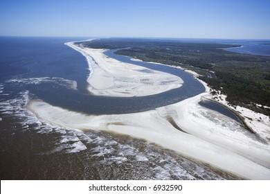 Aerial of coast at Cumberland Island National Seashore, Georgia.