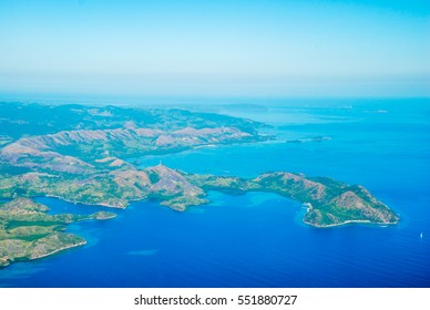 Aerial coast view of the Philippine Islands in Visayan sea, Philippines, Asia
