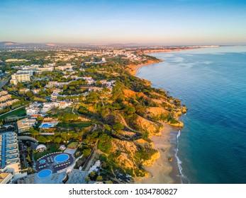 Aerial coastal view of Albufeira area, Algarve, Portugal