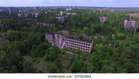 Aerial. Collapsed school No1 of Pripyat town near Chernobyl, Ukraine