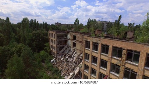Aerial. Collapsed school No1 of Pripyat town near Chernobyl, Ukraine