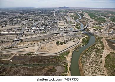 Aerial of the Colorado River at Yuma, Arizona