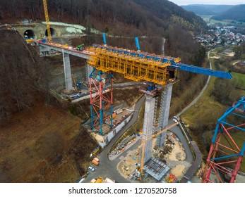Aerial of complex new railway bridge construction between two tunnels in the Swabian Alps between Stuttgart and Ulm in Germany