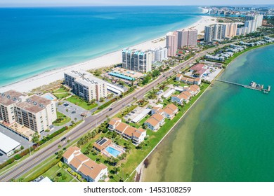 Aerial of condos on the beach