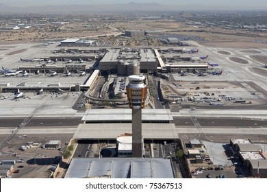 Aerial of control tower and busy terminal 4 at Sky Harbor Airport, Phoenix