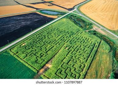 Aerial of corn maze, Manitoba, Canada