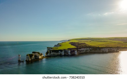 Aerial costal sea white cliffs old harry rocks United Kingdom England