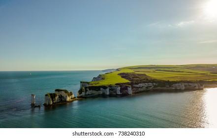 Aerial costal sea white cliffs old harry rocks United Kingdom England Bournemouth